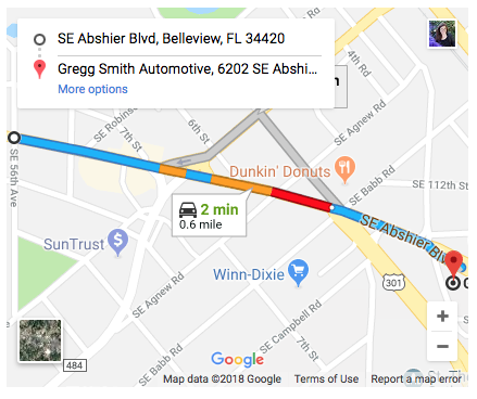 Directions from Aunt Fannie's to Gregg Smith Autotive